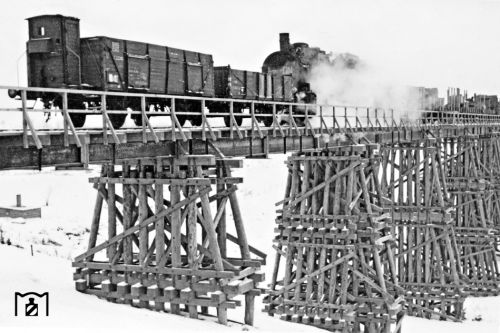 Проезжая по Амурскому мосту на левый берег, многие видели остатки деревянных опор справа от моста. Это остатки опор временной деревянной переправы, которая была построена рядом с разрушенным Амурским мостом. Это последнее фото переправы (после прохождения поезда она была взорвана)